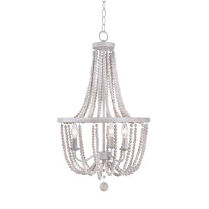 Regas White and Distressed White Bead Three-Light Chandelier