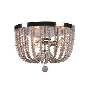 Dumas Brushed Steel with Distressed White Wood Beads Three-Light Wood Bead Flush Mount
