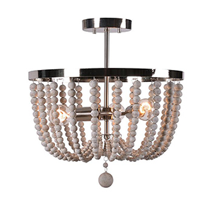 Dumas Brushed Steel with Distressed White Wood Beads Three-Light Wood Bead Semi Flush