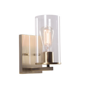 Hixon Antique Brass and Clear Glass One-Light Wall Sconce