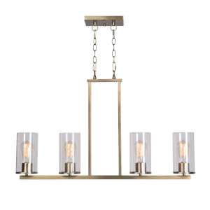 Hixon Antique Brass and Clear Glass Four-Light Island Pendant