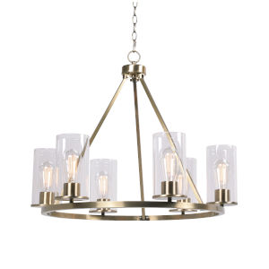 Hixon Antique Brass and Clear Glass Six-Light Chandelier