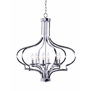 Morocco Chrome Six-Light Square Chandelier on Diamond Tube