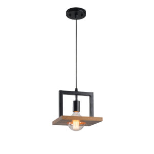 Sarkee Black and Natural Wood One-Light Mini Pendant