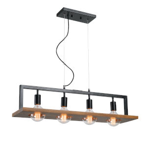 Sarkee Black and Natural Wood Four-Light Island Pendant