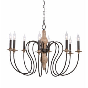 Lisbeth Weathered White and Gold Six-Light Chandelier