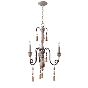 Alexandra Weathered White with Oil Rubed Bronze Arms Three-Light Chandelier