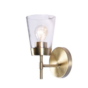 Delgado Antique Brass and Clear Glass Wall Sconce