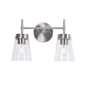 Delgado 2 Brushed Steel and Clear Glass Two-Light Bath Vanity