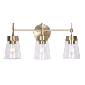 Delgado Antique Brass and Clear Glass Three-Light Bath Vanity
