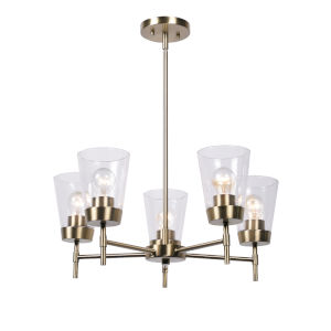 Delgado Antique Brass and Clear Glass Five-Light Chandelier
