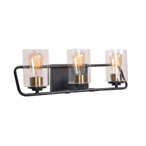 Carleigh Matte Black and Antique Brass Three-Light Bath Vanity