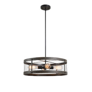 Cozy Wood and Oil Rubbed Bronze Four-Light Pendant