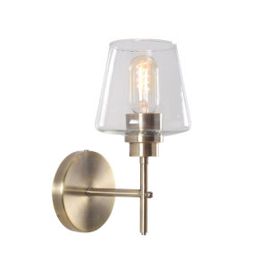 Dean Antique Brass and Clear Glass One-Light Bath Vanity