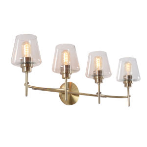 Dean Antique Brass and Clear Glass Four-Light Bath Vanity