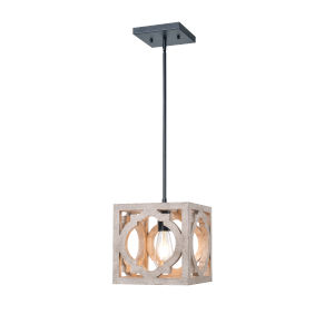Cadmen Square Weathered White One-Light Mini Pendant