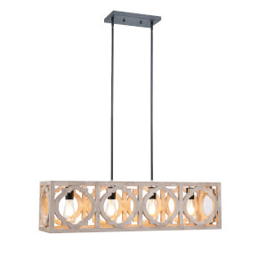 Cadmen Square Weathered White Four-Light Island Pendant