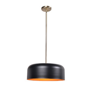 Porter Antique Brass, Matte black and gold Two-Light Pendant