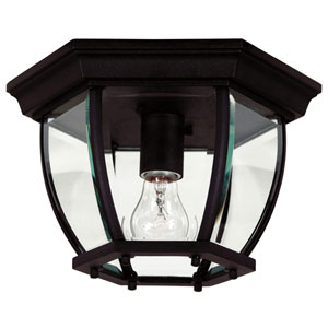 Dural Black One-Light Outdoor Flush Mount Ceiling Light