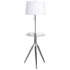 Rosie Chrome Floor Lamp w/ Glass Tray