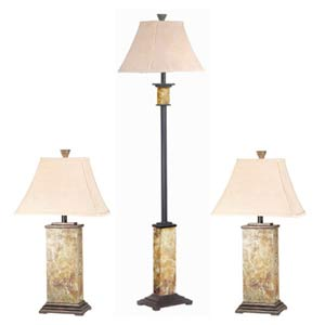Bennington Slate Floor Lamp Set