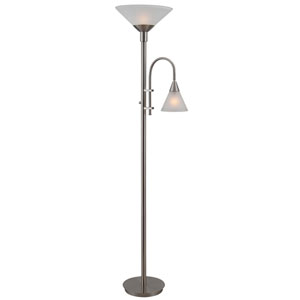 Brady Brushed Steel Torchiere with Reading Arm