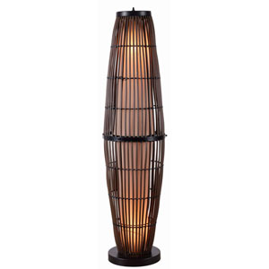 Biscayne Rattan with Bronze Accents Outdoor Floor Lamp
