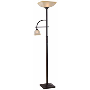 Arch Oil Rubbed Bronze Two Light Mother and Son Torchiere