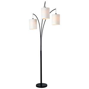 Leah Black Three-Light Arc Floor Lamp
