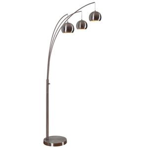 Joan Brushed Steel Three-Light Arc Floor Lamp