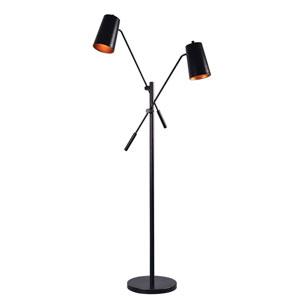 Avallone Matte Black Two-Light Floor Lamp