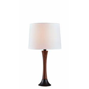 Cecelia Mahogany Wood Grain and Oil Rubbed Bronze 12-Inch One-Light Table Lamp