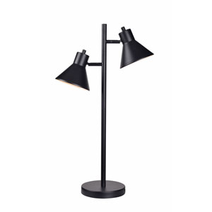 Ash Black 18-Inch Two-Light Table Lamp