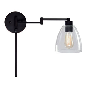 Edis Oil Rubbed Bronze 10-Inch One-Light Wall Swing Arm Lamp