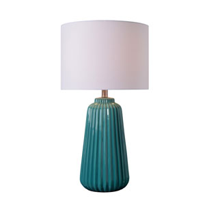 Ziggy Glossy Teal Ceramic 14-Inch One-Light Table Lamp