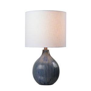 Intaglio Distressed Blue Ceramic 12-Inch One-Light Table Lamp