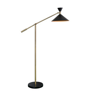 Arne Black and Antique Brass 12-Inch One-Light Floor Lamp