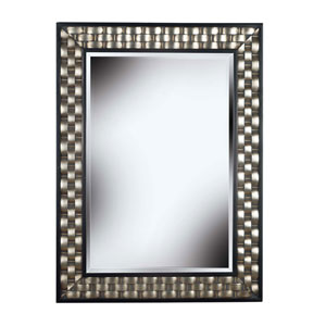 Checker Brushed Silver with Black Accents Wall Mirror