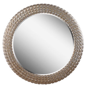 Bracelet Brushed Silver and Gold Round Wall Mirror