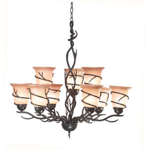 Twigs Bronze Nine-Light Chandelier