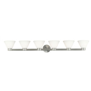 Maxwell Brushed Steel Six-Light Bath Light