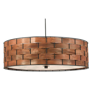 Shaker Dark Woven Wood Three Light Pendant