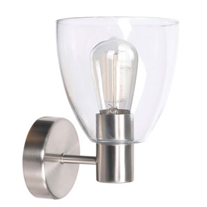 Edis Brushed Steel One-Light Wall Sconce