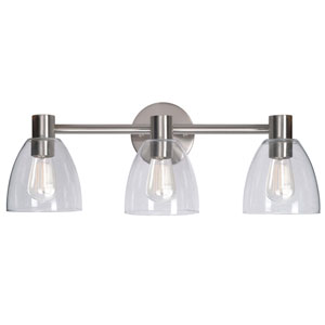 Edis Brushed Steel Three-Light Vanity