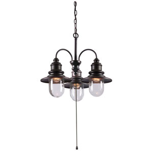 Broadcast Oil Rubbed Bronze Three-Light Outdoor Chandelier