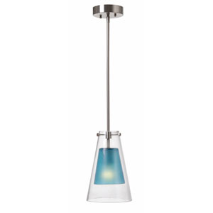 Wolf Brushed Steel One-Light Mini Pendant with Blue Inner Glass