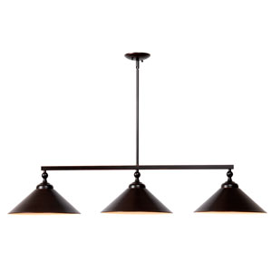 Conical Oil Rubbed Bronze Three-Light Pendant