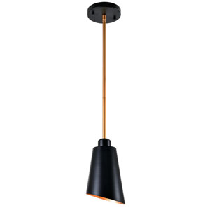 Alvar Matte Black with Antique Brass inside One-Light Mini Pendant