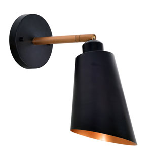 Alvar Matte Black with Antique Brass inside One-Light Wall Sconce