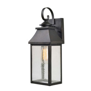 Nelson Sandy Black with Gold Highlights 7-Inch One-Light Large Outdoor Wall Lantern